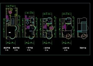 某北美风格三层别墅含庭院设计cad方案图