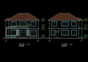 北美风格自建别墅建筑设计cad平立剖