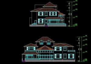 北美风格自建别墅住宅楼设计cad方案图