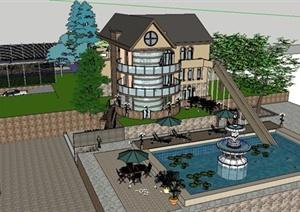 地中海风格别墅住宅建筑景观SU(草图大师)模型