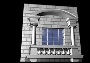 某歐式風格建筑窗戶設計3d模型