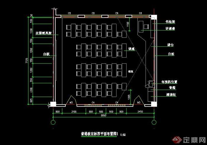 某小学教学楼各教室CAD平面布置(1)