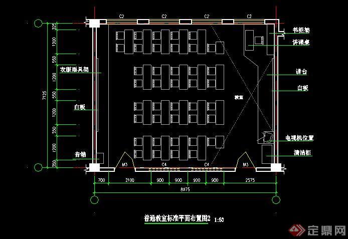 某小学教学楼各教室CAD平面布置(2)