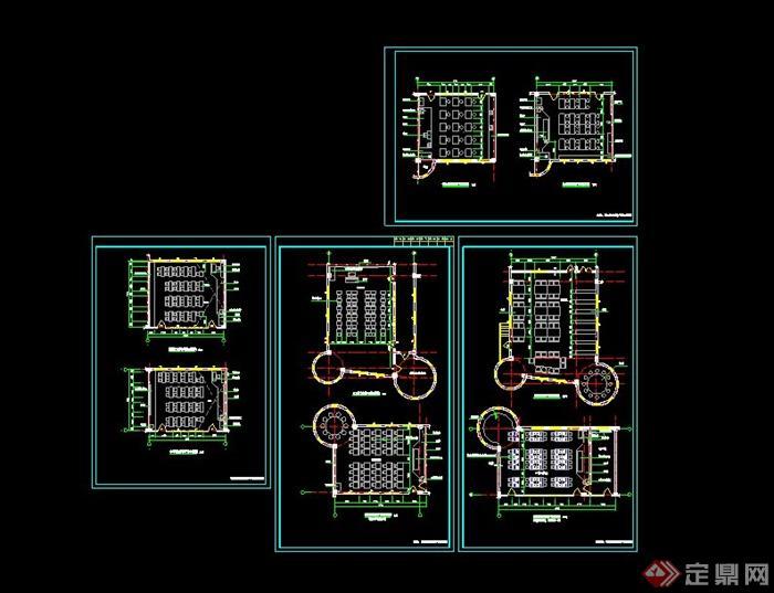 某小学教学楼各教室CAD平面布置(3)