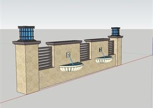 某新古典风格精致喷泉景墙设计SU(草图大师)模型
