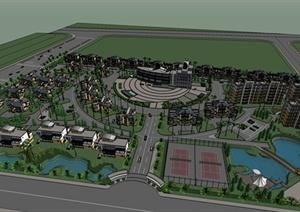 一个精致欧式小区规划设计SU(草图大师)模型
