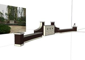 新古典风格小区景墙设计SU(草图大师)模型