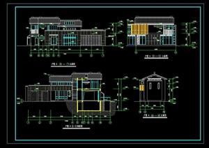 某现代中式私人别墅建筑设计cad方案图