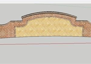 新古典花钵柱及景墙SU(草图大师)模型