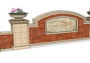 新古典风格景观墙设计SU(草图大师)模型