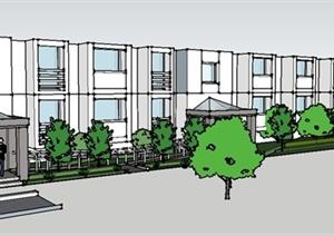 现代中式二层住宅楼及景墙SU(草图大师)模型