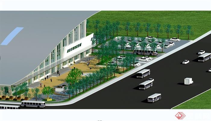 某现代风格汽车客运站设计cad方案图以及效果图(5)