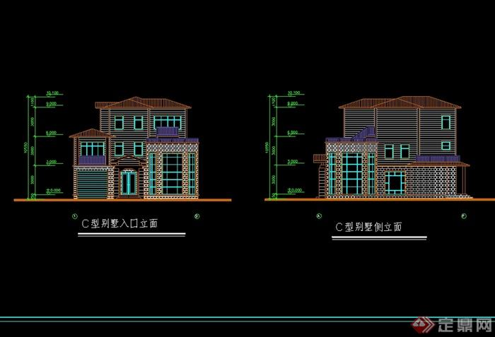 欧式别墅建筑设计cad平立剖(1)