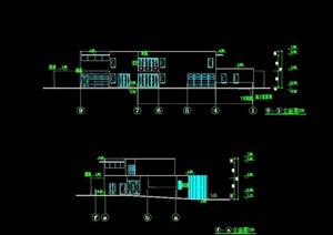 现代独栋别墅建筑设计cad平立剖