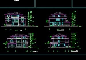 现代中式风格私人别墅建筑设计cad方案图
