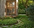 别墅花园,庭院,庭院景观,汀步,种植池