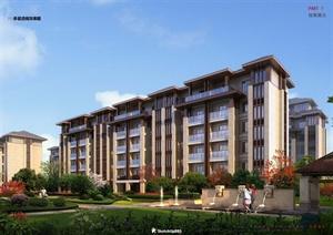 某新古典风格多层小区建筑楼设计SU(草图大师)模型