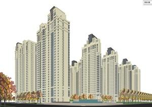 新古典风格小区建筑楼设计SU(草图大师)模型