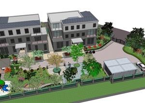 某美式风格住宅楼建筑及景观设计SU(草图大师)模型