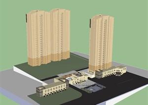 新古典风格小区住宅建筑楼SU(草图大师)模型