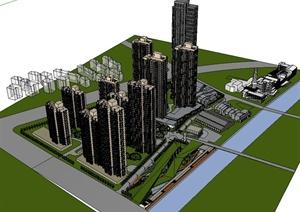 新古典风格小区楼建筑SU(草图大师)模型