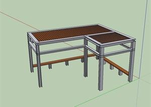 现代风格简单的廊架设计SU(草图大师)模型