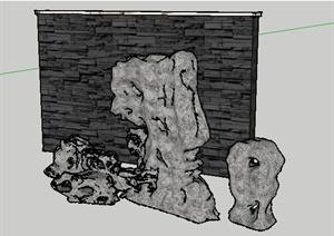 中式水景墙太湖石假山SU(草图大师)模型