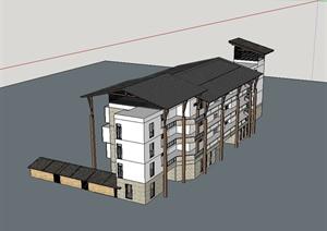东南亚风格多层住宅楼建筑设计SU(草图大师)模型