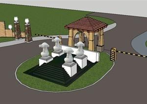 新古典大门及景墙设计SU(草图大师)模型