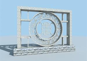 某现代中式风格景墙设计3d模型含效果图