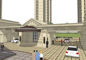 某新古典风格小区建筑资料设计SU(草图大师)模型