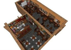 现代中式风格精致咖啡酒吧设计SU(草图大师)模型
