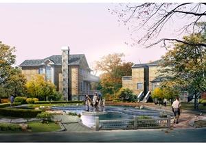 某别墅住宅区内庭景观设计psd效果图