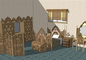 东南亚家装室内卧室设计SU(草图大师)模型