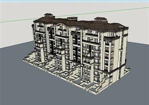 新古典风格小区住宅楼建筑SU(草图大师)模型