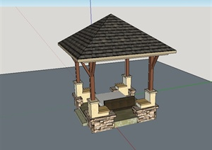 某东南亚风格休闲凉亭设计SU(草图大师)模型