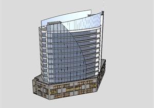 现代商业办公楼综合建筑SU草图大师模型