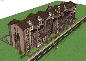 某美式田园风格住宅小区多层建筑SU(草图大师)模型