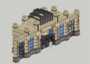 某欧式风格小区大门建筑SU(草图大师)模型设计