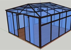 某现代风格玻璃阳光花房设计SU(草图大师)模型