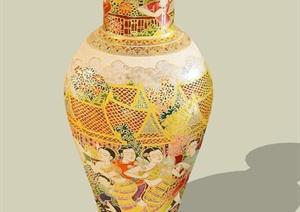 中式彩绘花瓶装饰瓶SU(草图大师)模型