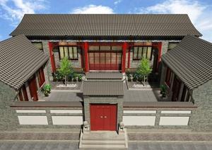 中式四合院建筑施工图及效果图
