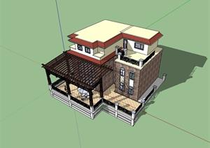 某欧式风格别墅及阳台设计SU(草图大师)模型