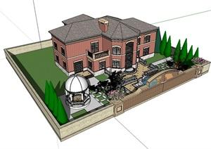 某美式风格详细别墅建筑及庭院设计SU(草图大师)模型