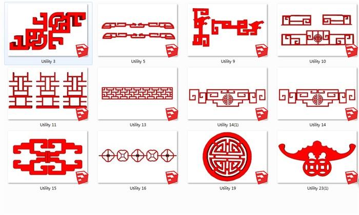 12种中式回纹样式图案设计SU模型