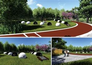 现代公园景观小品(棋子)景墙设计SU(草图大师)模型