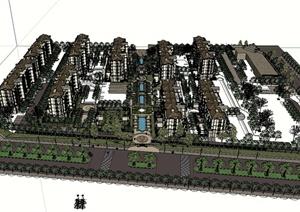 美式风格完整小区景观及建筑楼设计SU(草图大师)模型