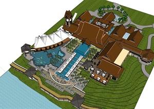某东南亚风格度假酒店建筑及景观规划jpg方案文本
