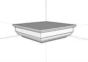 某现代风格方形柱子基座设计SU(草图大师)模型