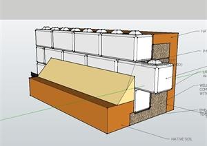 现代风格建筑墙体设计SU(草图大师)模型